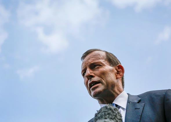 Australian Prime Minister Tony Abbott visits the Bali bombing memorial site on October 9, 2013 in Kuta, Indonesia.