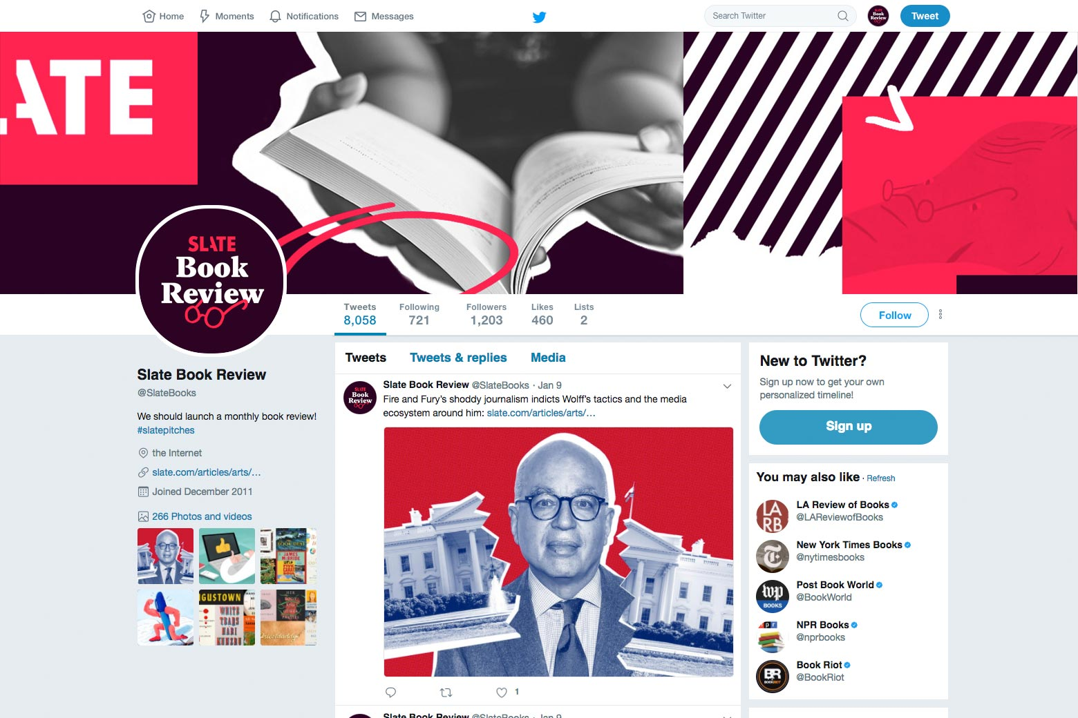 Screenshot of Slate Book Review's Twitter profile.