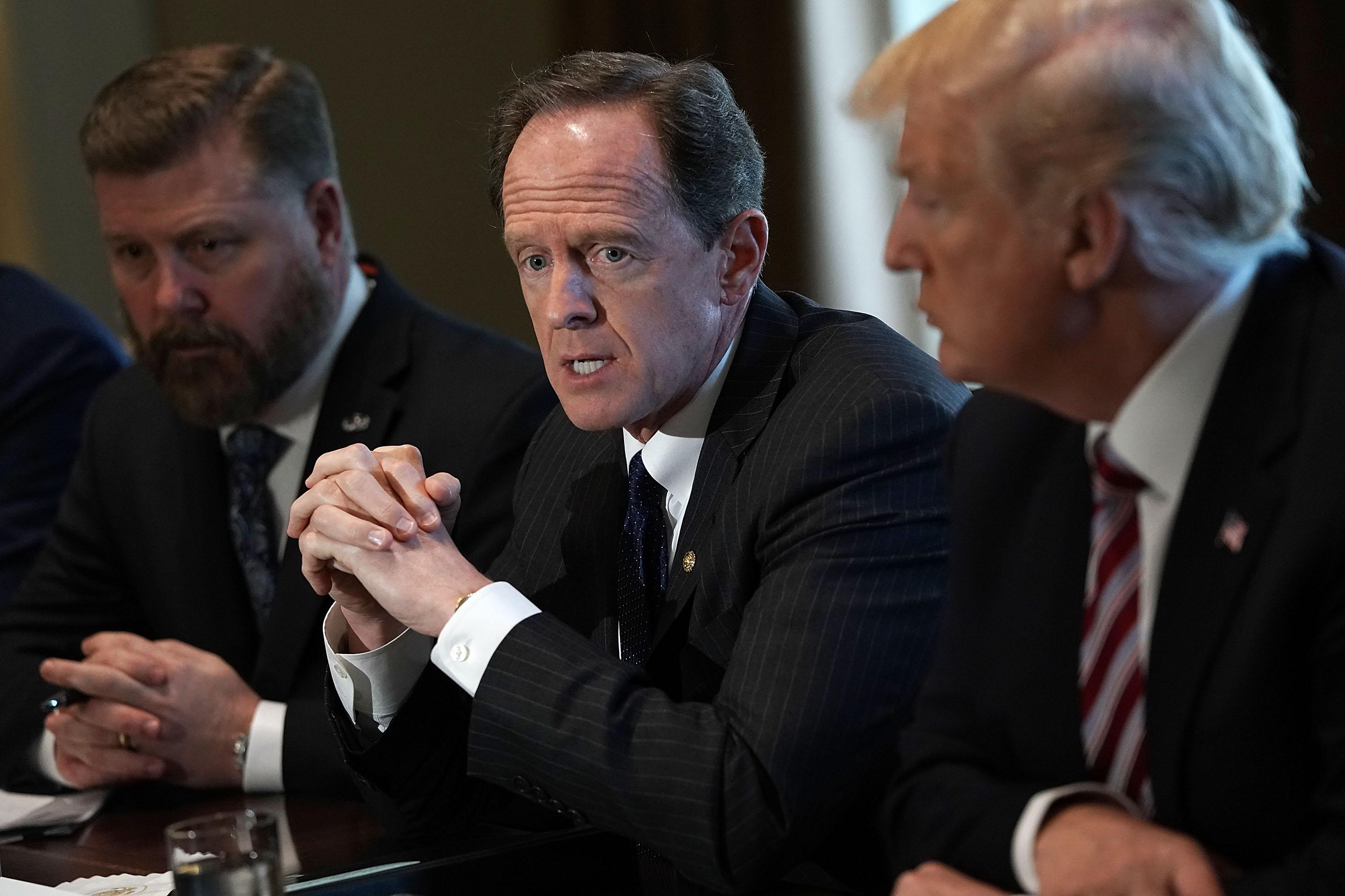 Sen. Pat Toomey (R-PA) during a meeting with congressional members at the White House February 13, 2018 in Washington, DC.