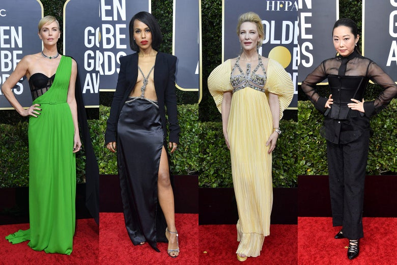 Charlize Theron, Kerry Washington, Cate Blanchett, and Lulu Wang pose at the 2020 Golden Globes red carpet.