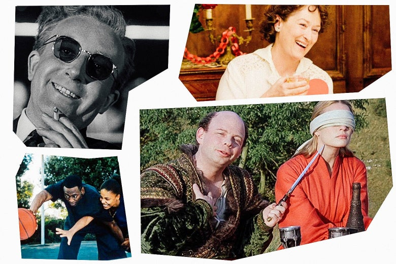 In a mosaic style, stills of Peter Sellers holding a cigarette, Sanaa Lathan and Omar Epps playing basketball, Meryl Streep raising a glass, and Wallace Shawn holding a knife to the neck of a blindfolded Robin Wright.