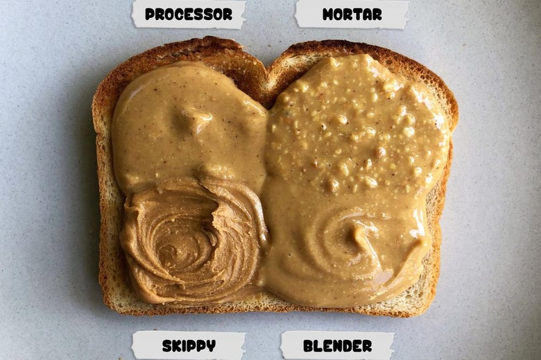 Four different types of peanut butter, labeled processor, mortar, Skippy, and blender, smeared in four contiguous quadrants on one piece of toast.