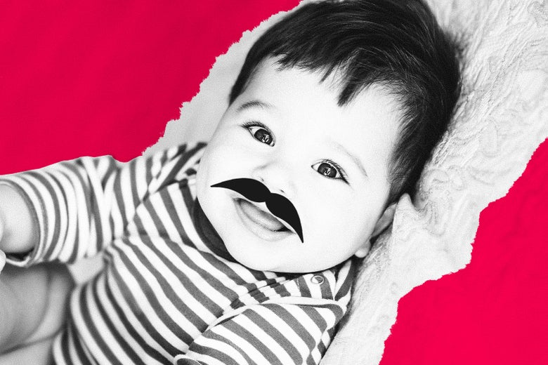 A baby with a large mustache.