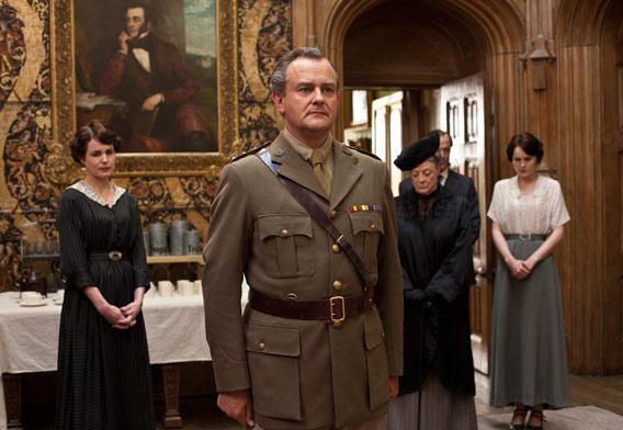 Elizabeth McGovern as Lady Cora, Hugh Bonneville as Lord Grantham, Maggie Smith as the Dowager Countess and Michelle Dockery as Lady Mary.