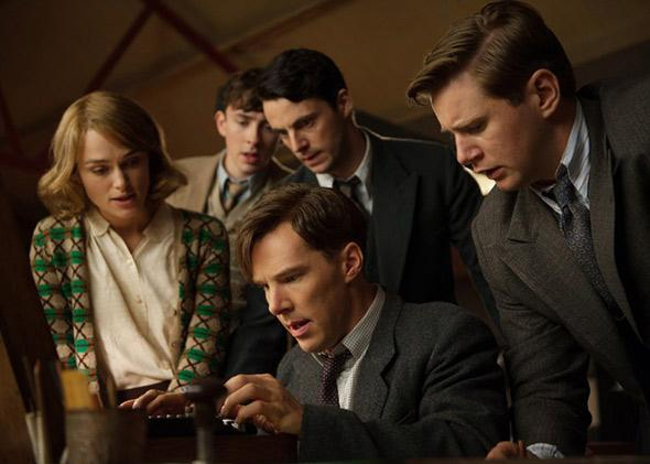 Matthew Beard, Matthew Goode, Keira Knightley, Benedict Cumberbatch and Allen Leech in The Imitation Game.
