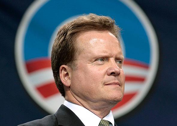 Sen. Jim Webb (D-VA) listens to Democratic presidential hopeful Sen. Barack Obama (D-IL) during a rally at the Nissian Pavillion June 5, 2008 in Bristow, Virginia.