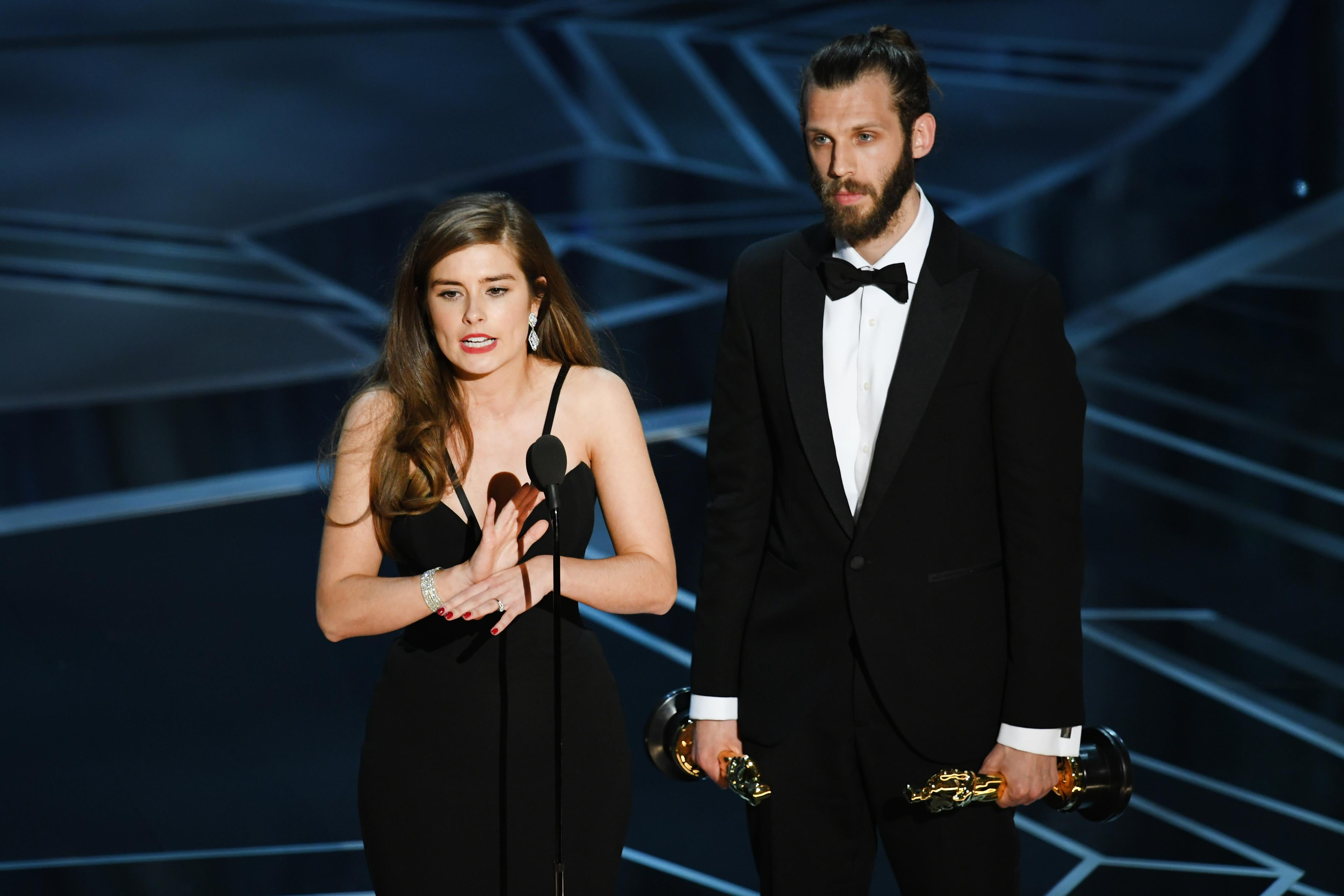 Filmmakers Rachel Shenton (L) and Chris Overton accept Best Live Action Short Film for 'The Silent Child' onstage during the 90th Annual Academy Awards at the Dolby Theatre at Hollywood & Highland Center on March 4, 2018 in Hollywood, California.  (Photo by Kevin Winter/Getty Images)
