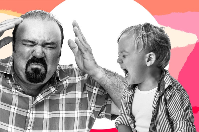 A dad and a toddler both pitching a tantrum, against an abstract background.