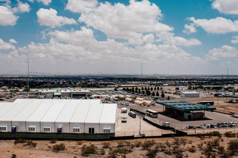 Detention center on a clear day in the desert.