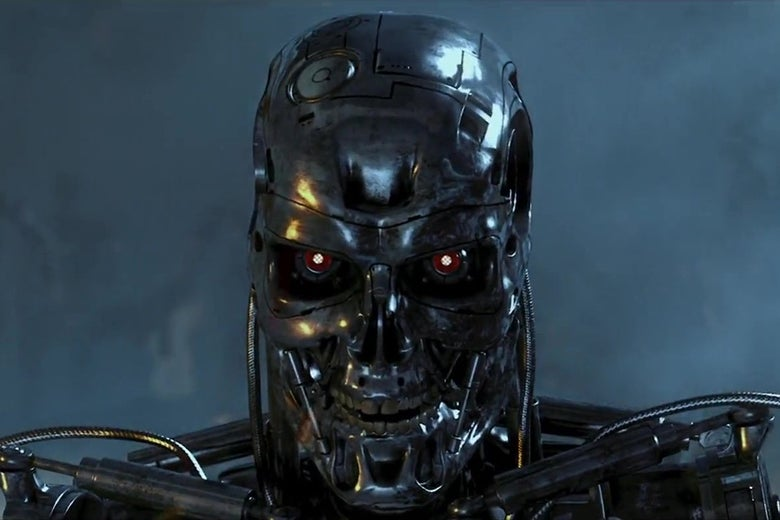 The metal skeleton of a T-800.