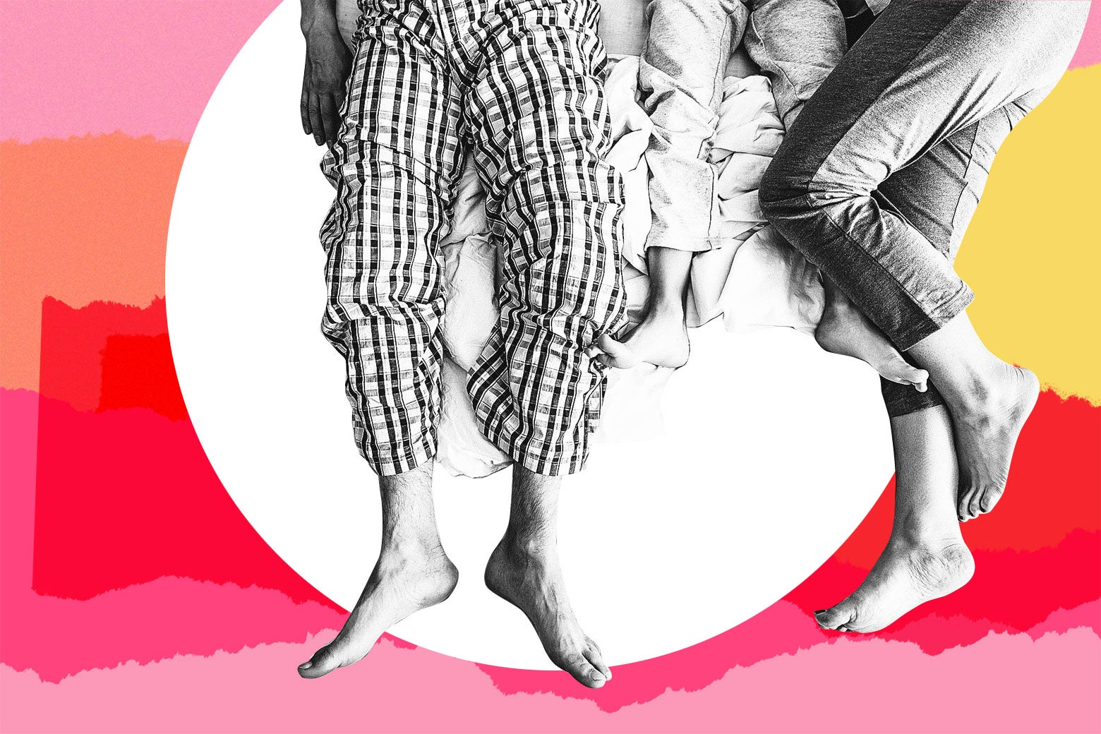 Photo illustration: Three pairs of feet lie in bed depicting two parents and a child.