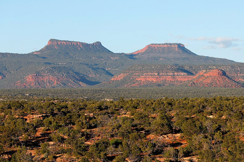 Wide shot of the pair of buttes known as Bears Ears on a sunny day