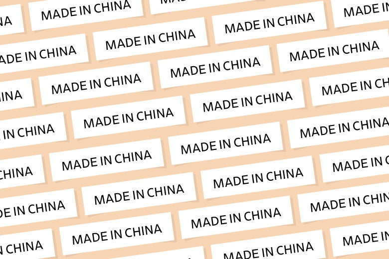 A bunch of Made in China labels repeating over and over.