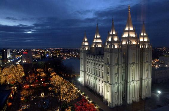 A view of the Salt Lake Temple outside Olympic Medals Plaza in Salt Lake City, Utah.