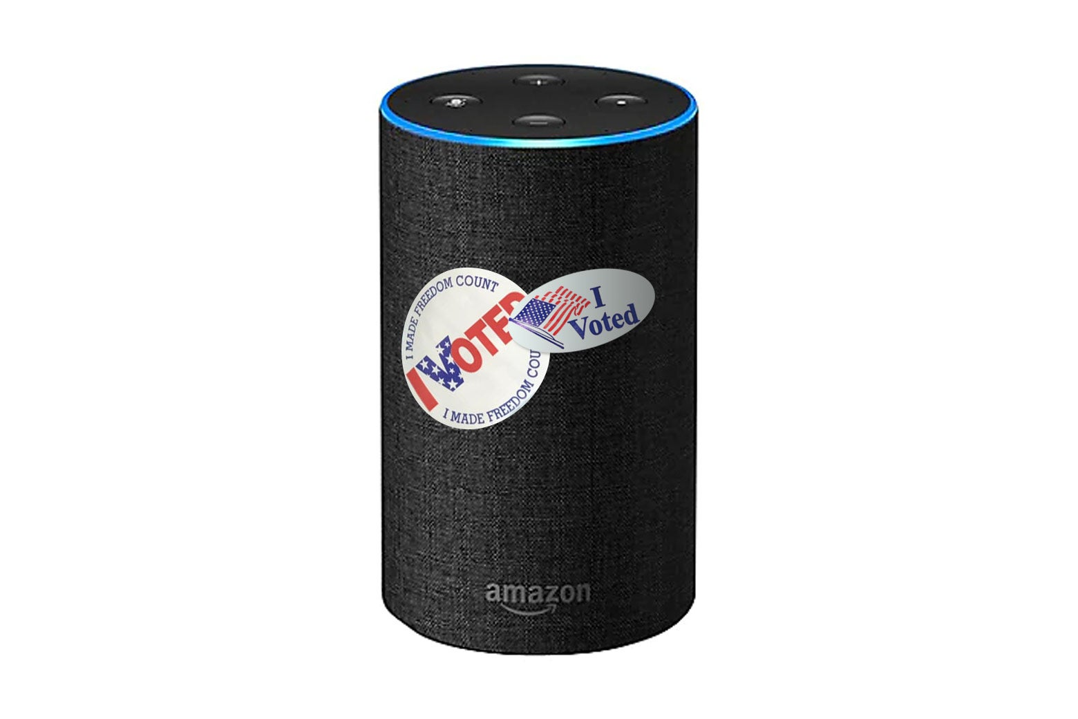 An Amazon echo with two I Voted stickers