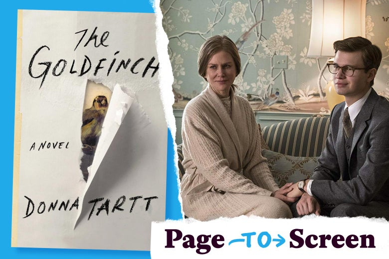 The cover of The Goldfinch book and a still image from the movie featuring Nicole Kidman and Ansel Elgort.