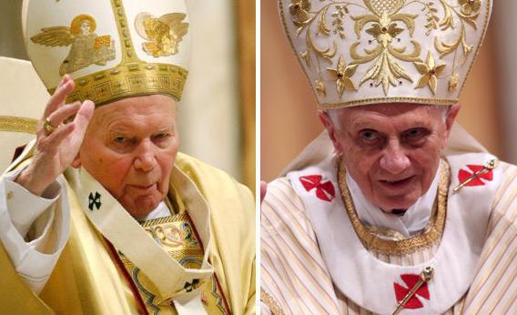 Pope John Paul II and Pope Benedict XVI.