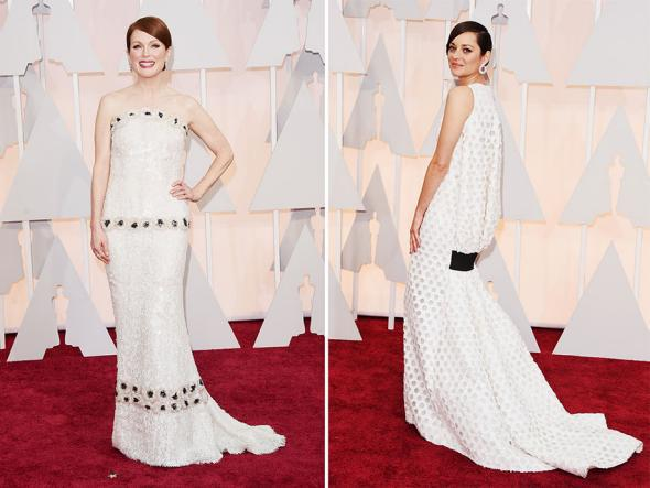 Julianne Moore and Marion Cotillard attend the 87th Annual Academy Awards.