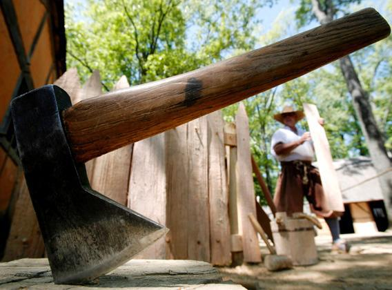 An axe at Jamestown Settlement, a museum of the 17th-century colonial Virginia, in Williamsburg, Virginia, May 1, 2007.