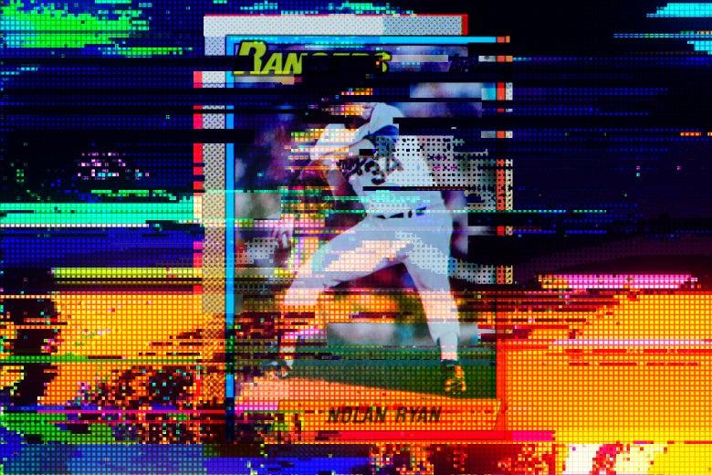 Glitchy, pixelated baseball card