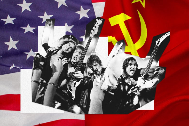 Scorpions, their many guitars raised high, backed by the dueling flags of the U.S. and the USSR.