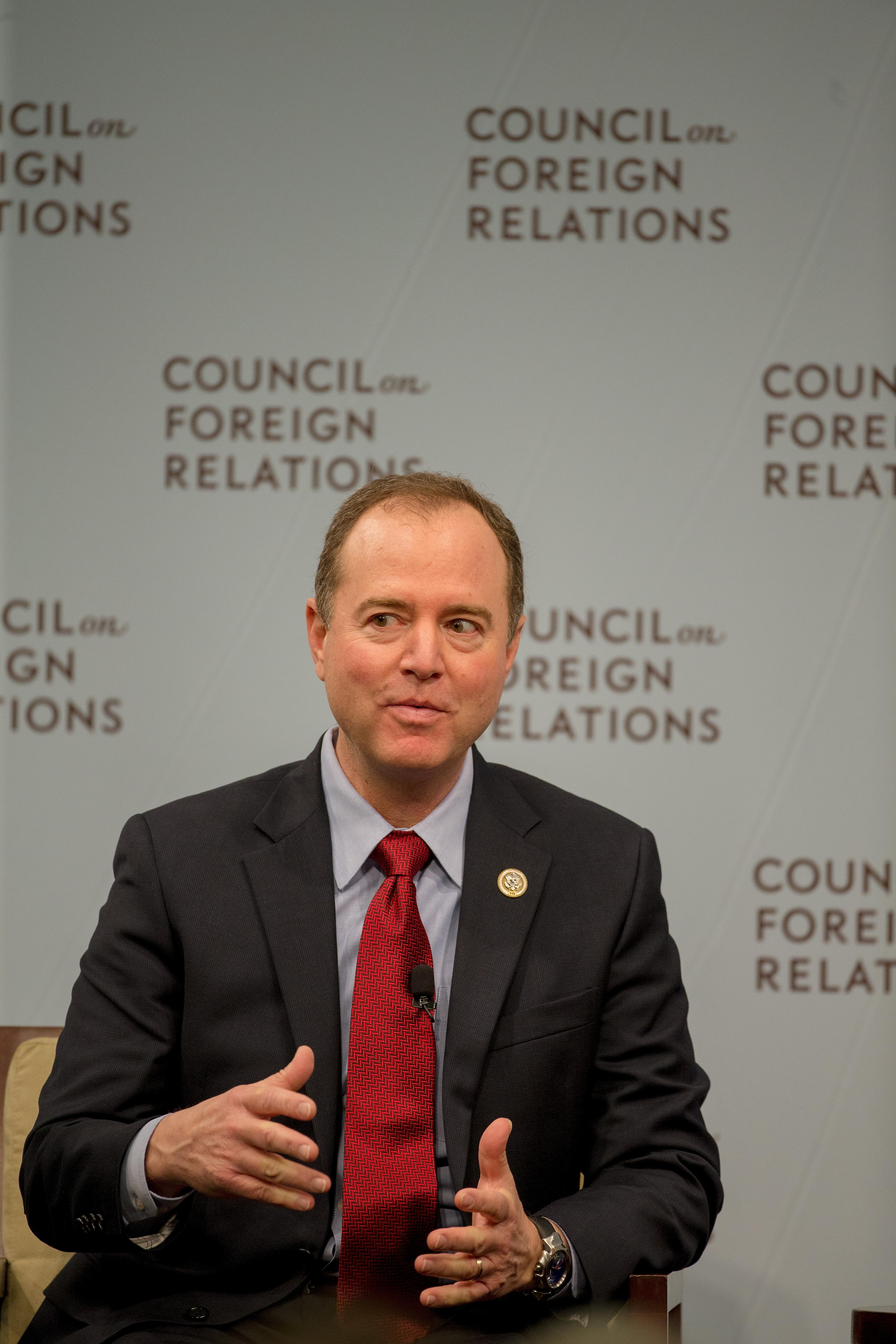 WASHINGTON, DC - FEBRUARY 16:  House Intelligence Ranking Member Adam Schiff (D-CA) speaks at the Council On Foreign Relations with Andrea Mitchell, Chief Foreign Affairs Correspondent at NBC News on February 16, 2018 in Washington, DC.  (Photo by Tasos Katopodis/Getty Images)
