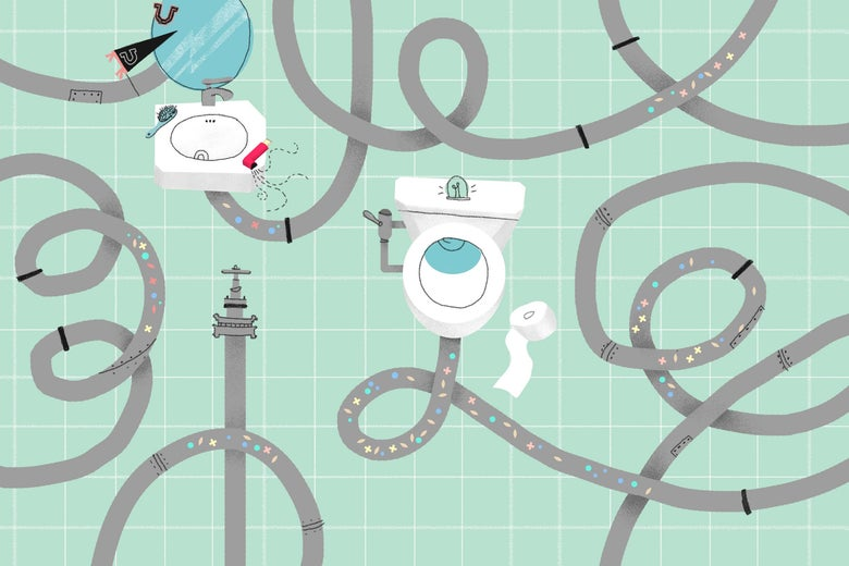 A system of pipes flowing from a toilet with little plus and minus signs in them.