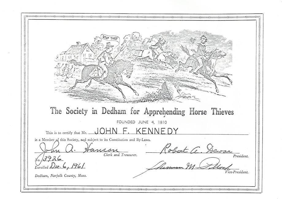 JFK membership certificate