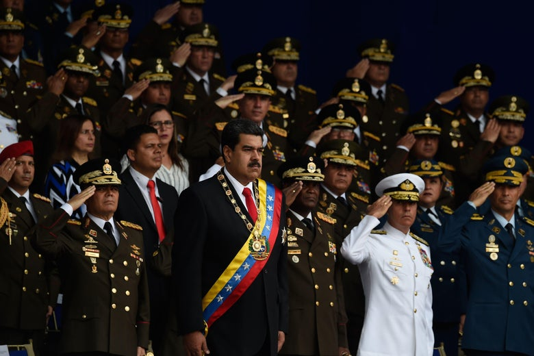 Venezuelan President Nicolás Maduro's speech during a military ceremony on Saturday was interrupted by a loud bang that the government has linked to drones carrying explosives.