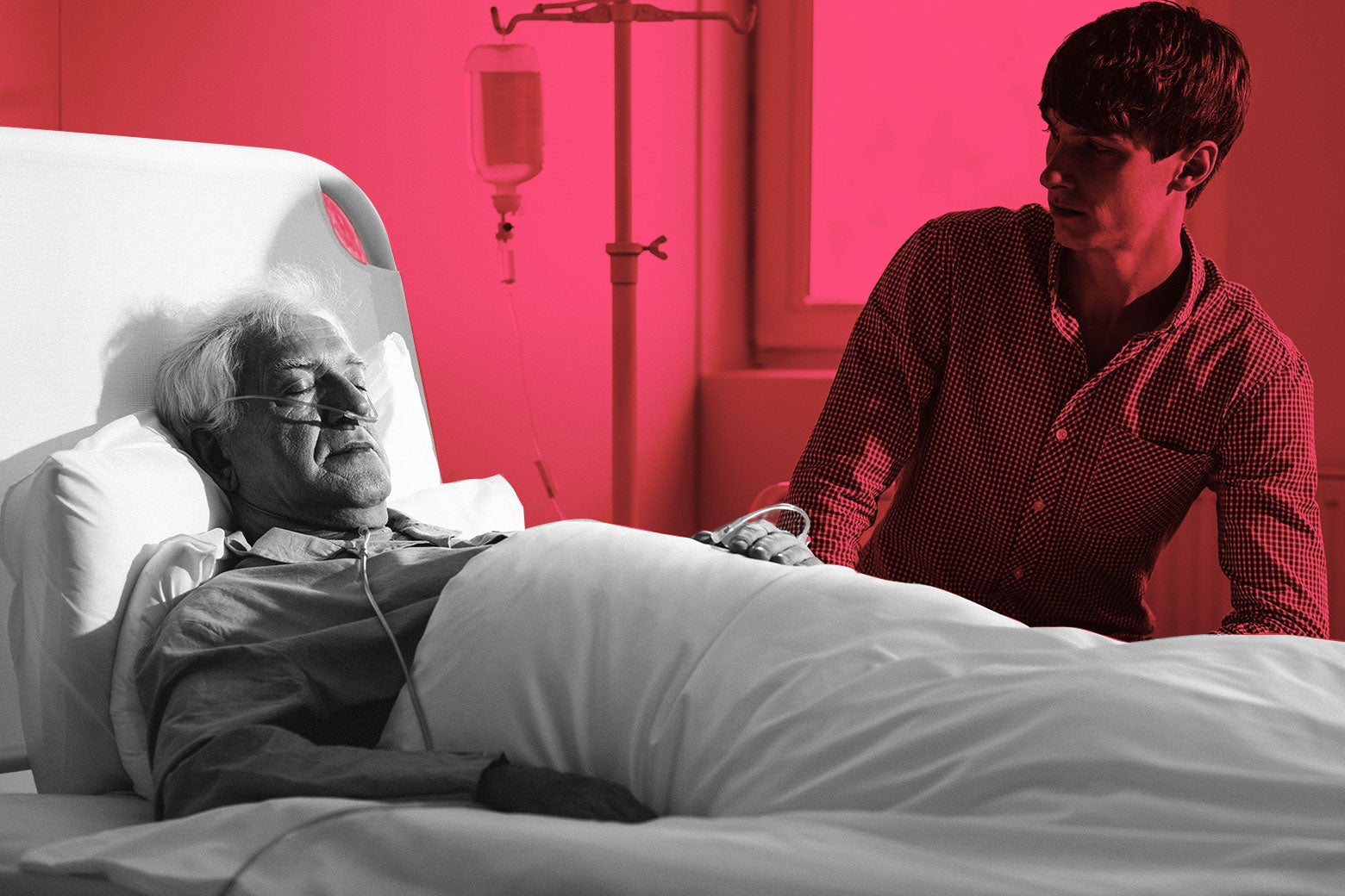 A son at his dying father's bedside.
