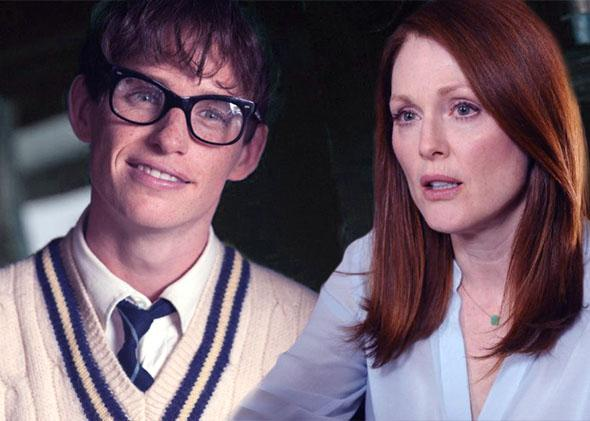 Eddie Redmayne in The Theory of Everything, and Julianne Moore in Still Alice.