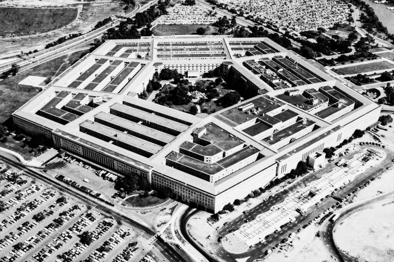 An aerial black-and-white photo of the Pentagon.