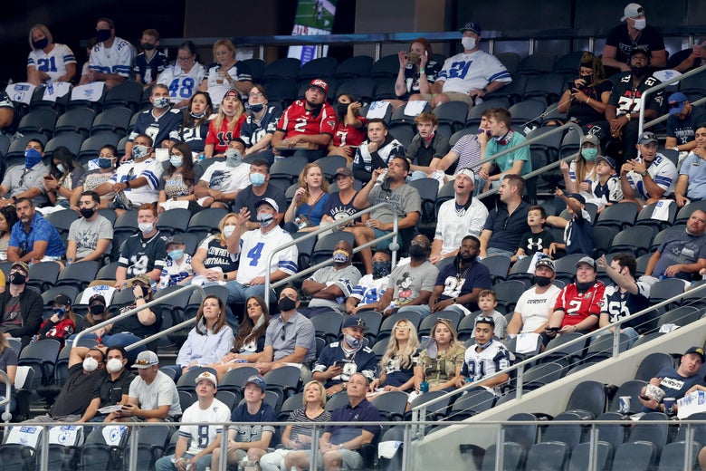 AT&T Stadium stands mostly filled by Dallas Cowboys fans during a game against the Atlanta Falcons