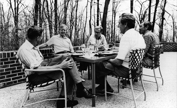 Jimmy Carter at Camp David with members of his Cabinet.